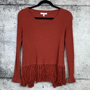 Anthro // Eri + Ali // Fringe Ribbed Thermal Top